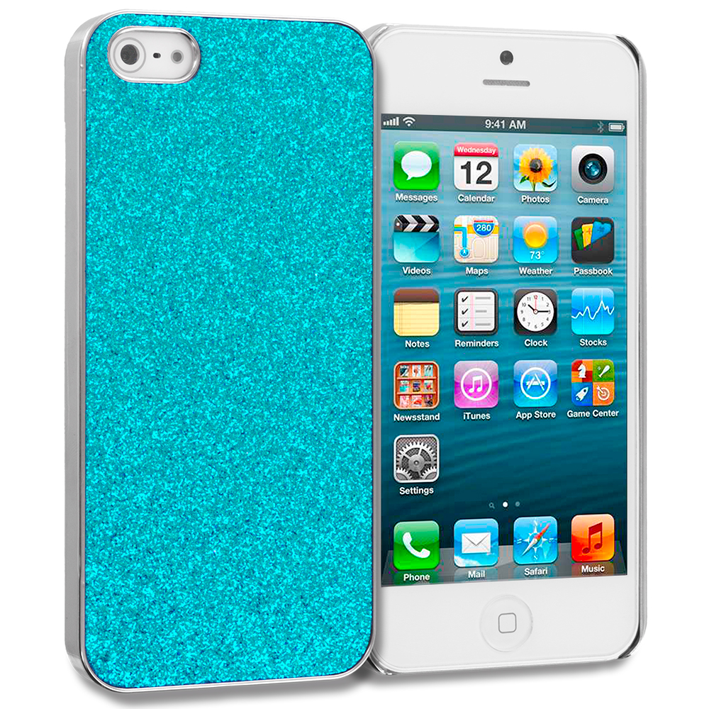 Apple iPhone 5/5S/SE Combo Pack : Baby Blue Glitter Case Cover : Color Baby Blue