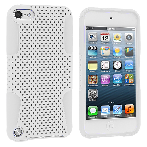 Apple iPod Touch 5th 6th Generation White / White Hybrid Mesh Hard/Soft Case Cover