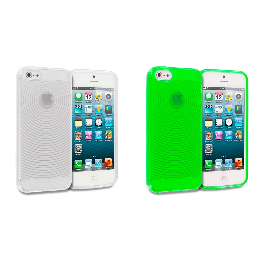Apple iPhone 5/5S/SE 2 in 1 Combo Bundle Pack - Clear Fingerprint TPU Rubber Skin Case Cover