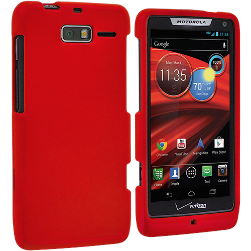 Motorola Droid Razr M XT907 Red Hard Rubberized Case Cover