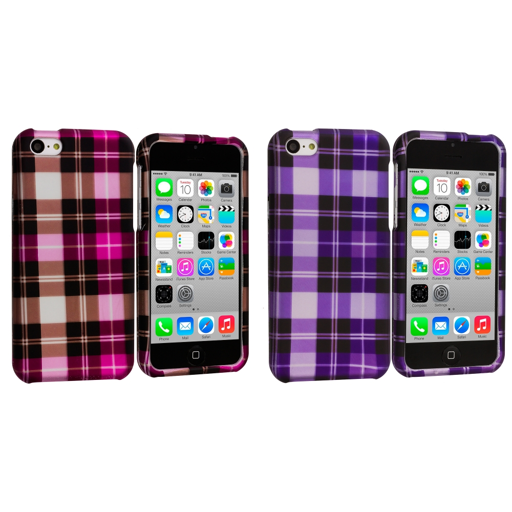 Apple iPhone 5C 2 in 1 Combo Bundle Pack - Purple Pink Checker Hard Rubberized Design Case Cover