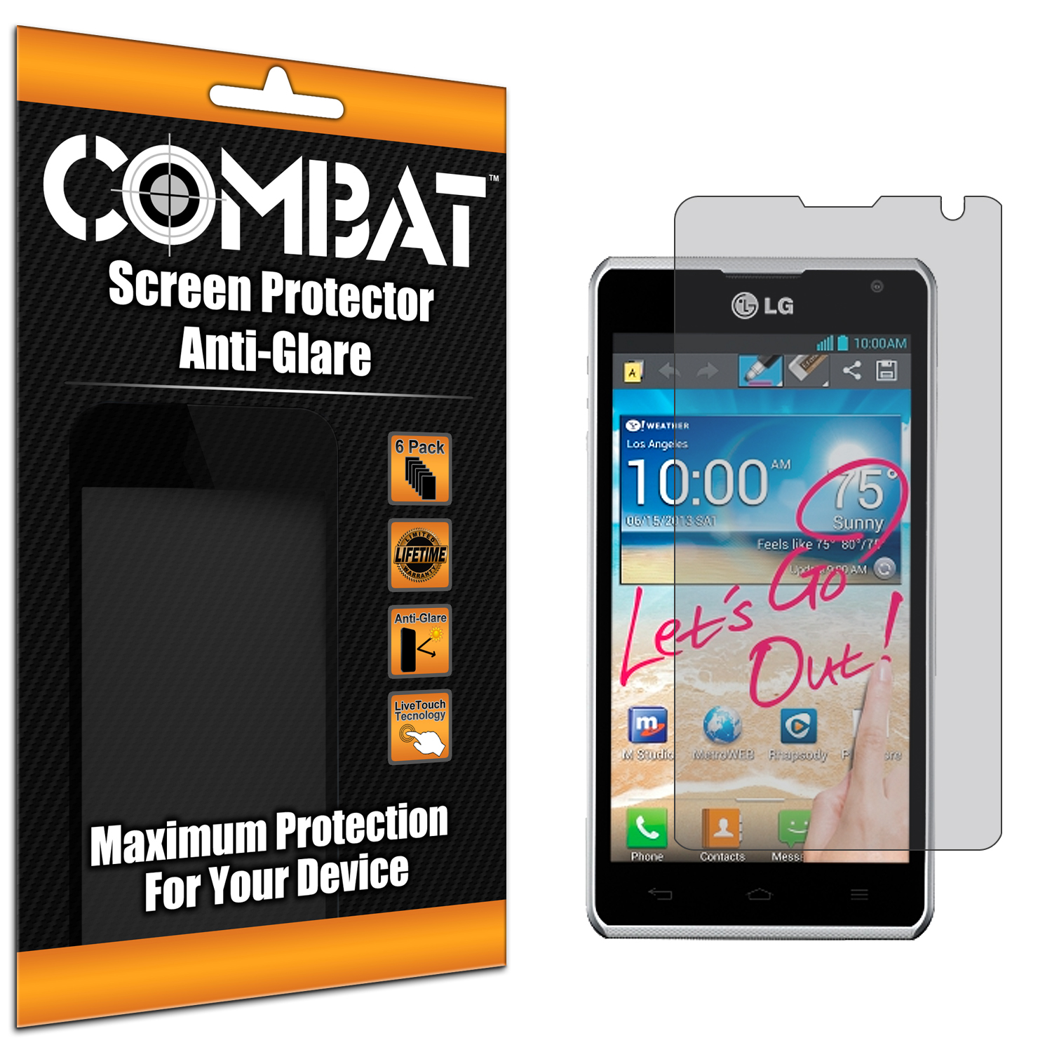 LG Spirit 4G MS870 Combat 6 Pack Anti-Glare Matte Screen Protector