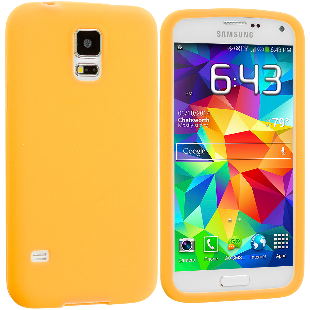 Samsung Galaxy S5 2 in 1 Combo Bundle Pack - White Yellow Silicone Soft Skin Case Cover : Color Orange