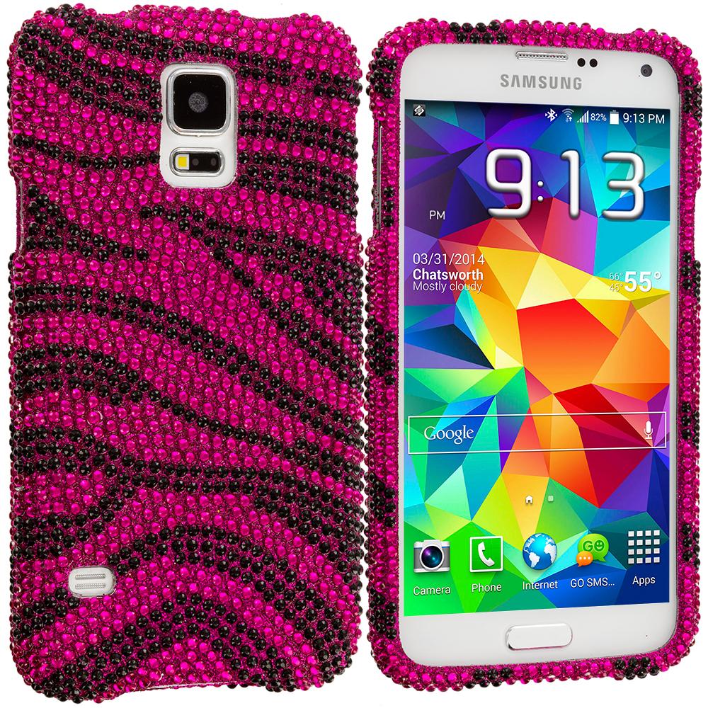Samsung Galaxy S5 Hot Pink Zebra Bling Rhinestone Case Cover