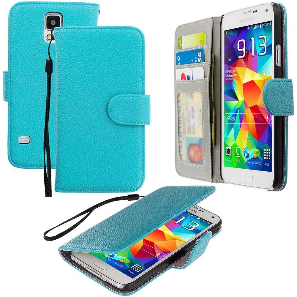 Samsung Galaxy S5 Baby Blue Leather Wallet Pouch Case Cover with Slots