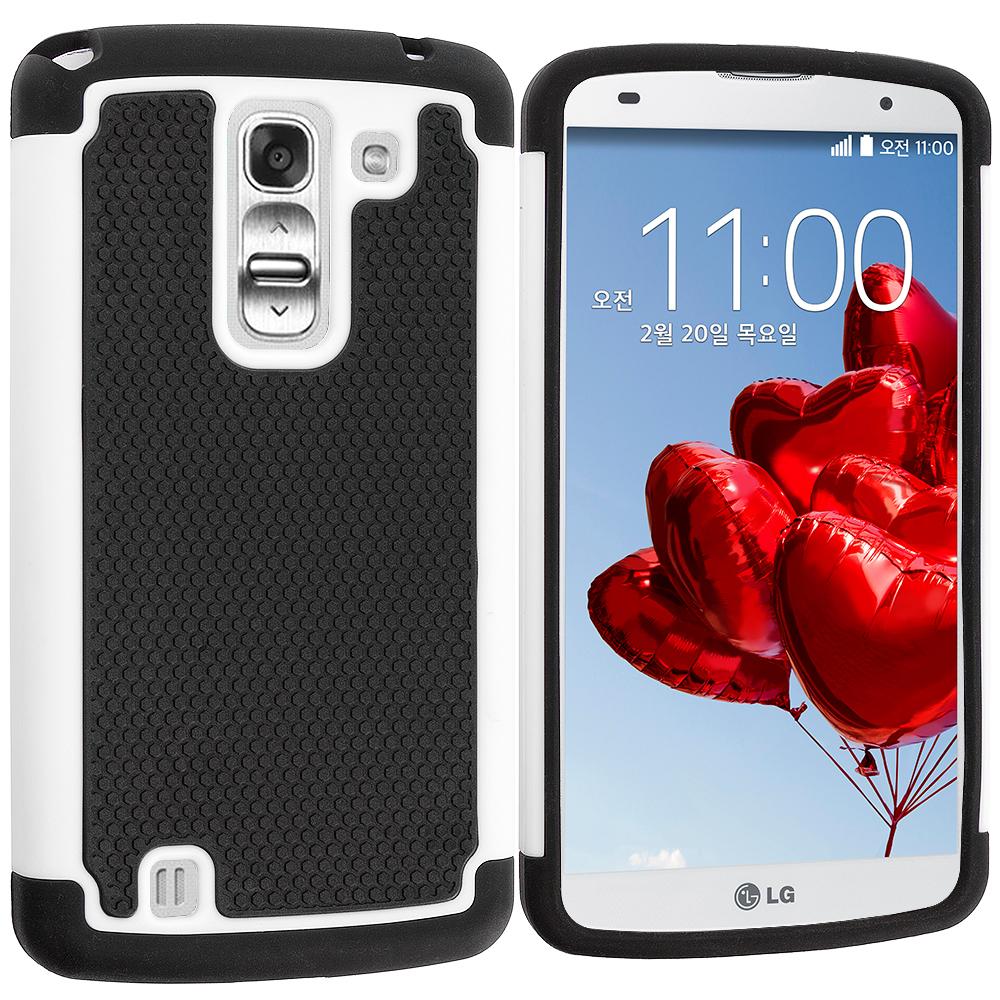 LG G Pro 2 Black / White Hybrid Rugged Hard/Soft Case Cover