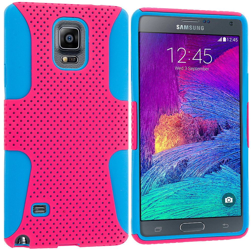 Samsung Galaxy Note 4 Baby Blue / Hot Pink Hybrid Mesh Hard/Soft Case Cover