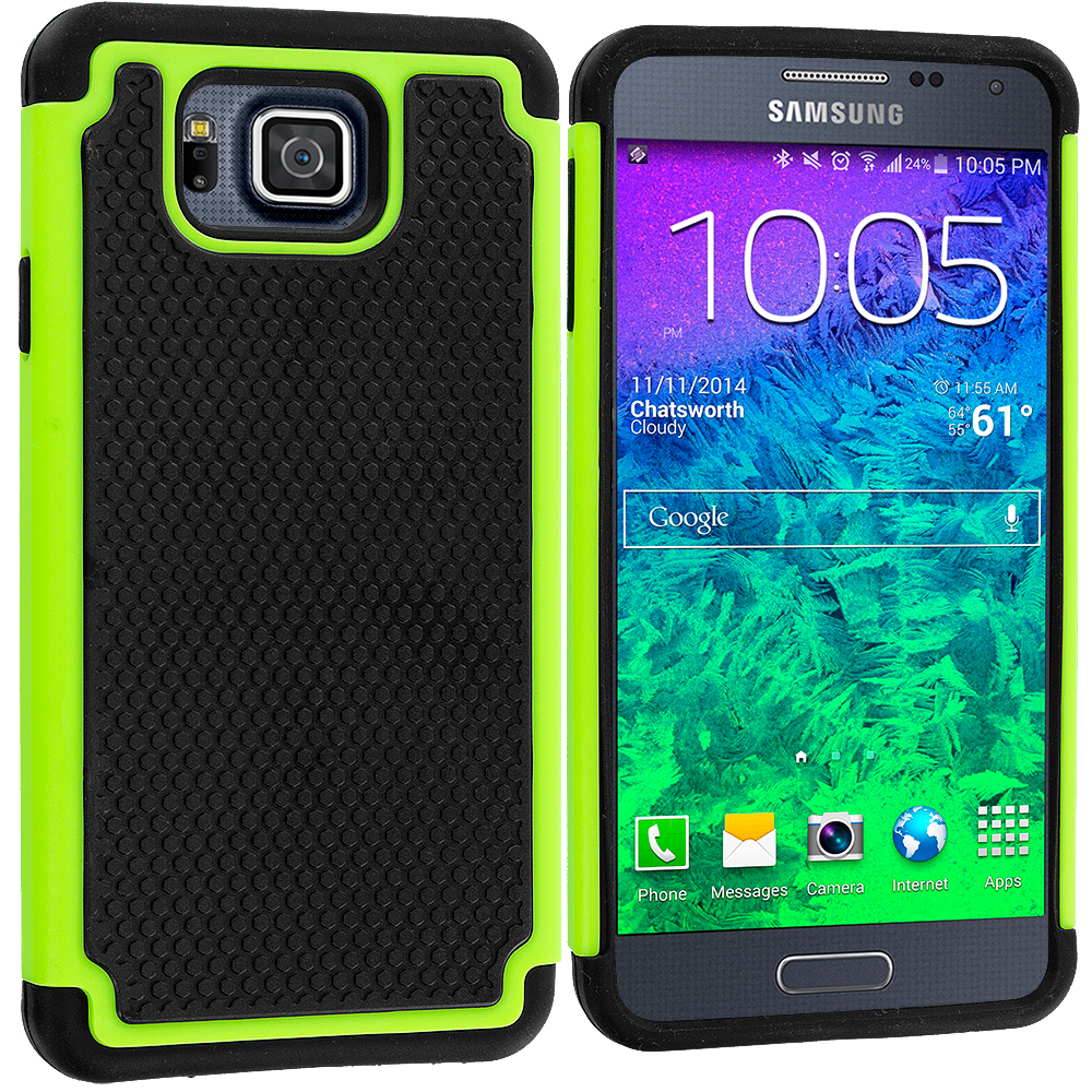 Samsung Galaxy Alpha G850 Black / Neon Green Hybrid Rugged Grip Shockproof Case Cover