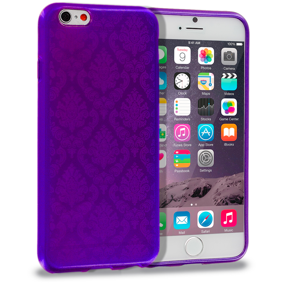 Apple iPhone 6 6S (4.7) Purple TPU Damask Designer Luxury Rubber Skin Case Cover