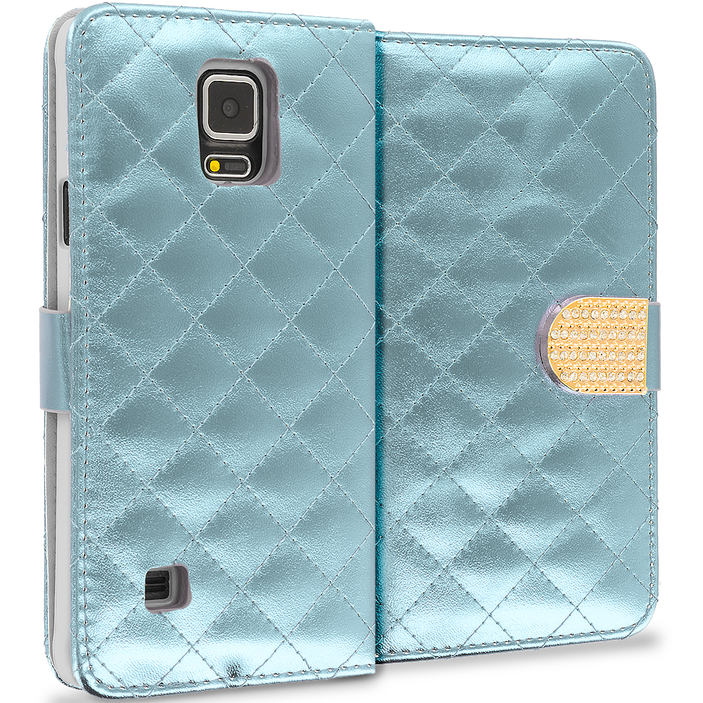 Samsung Galaxy Note 4 White Luxury Wallet Diamond Design Case Cover With Slots
