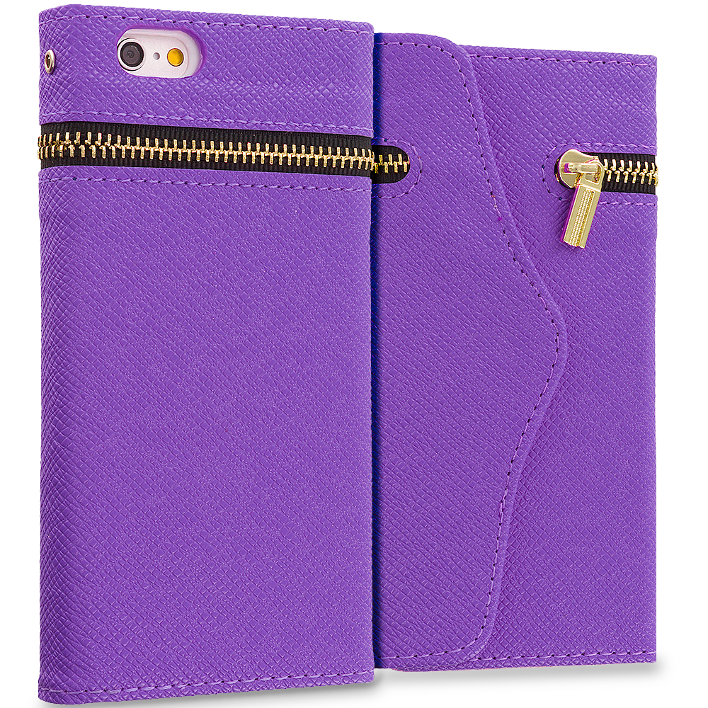 Apple iPhone 6 6S (4.7) Purple Zipper Wallet Case Cover Pouch With Slots