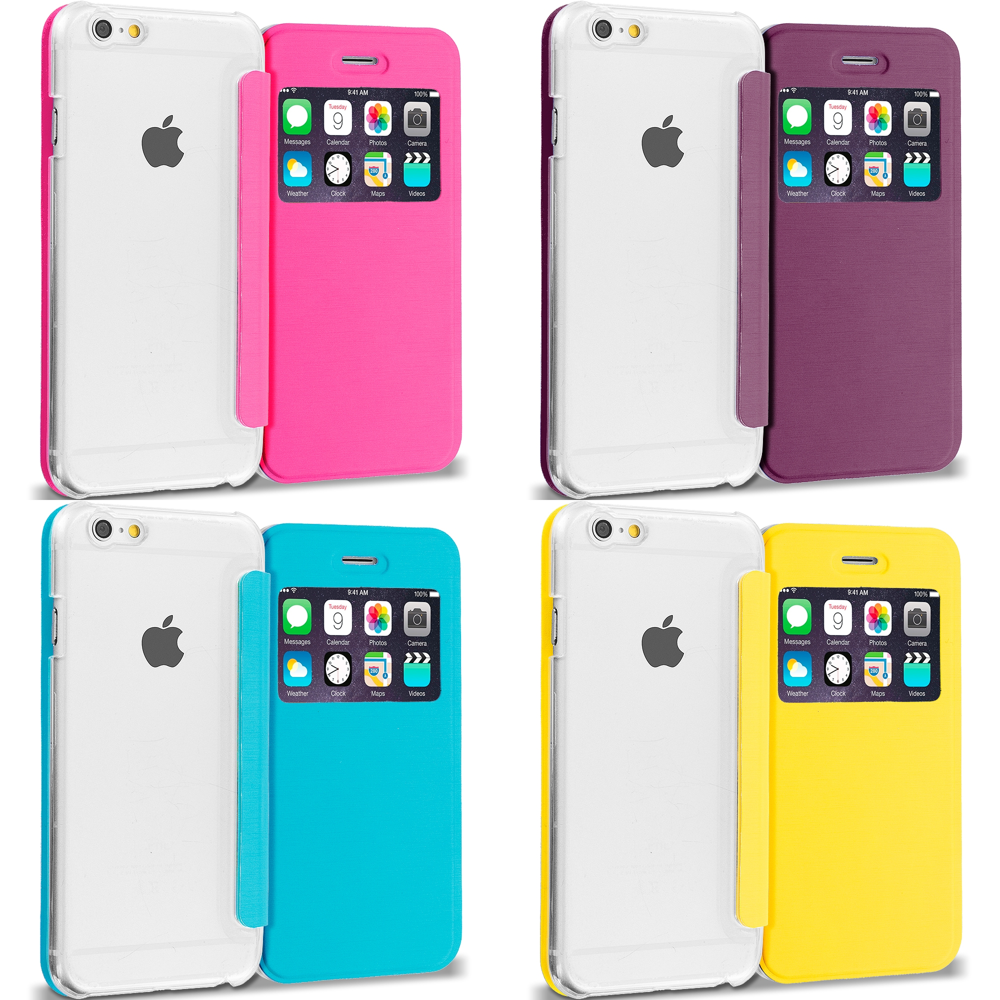Apple iPhone 6 6S (4.7) 4 in 1 Combo Bundle Pack - Slim Hard Wallet Flip Case Cover Clear Back With Window