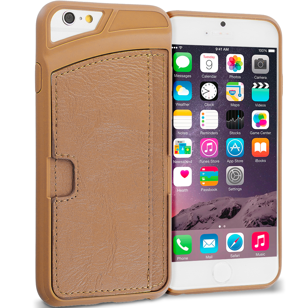 Apple iPhone 6 Brown Hard Leather Back Wallet Card ID Holder Case Cover