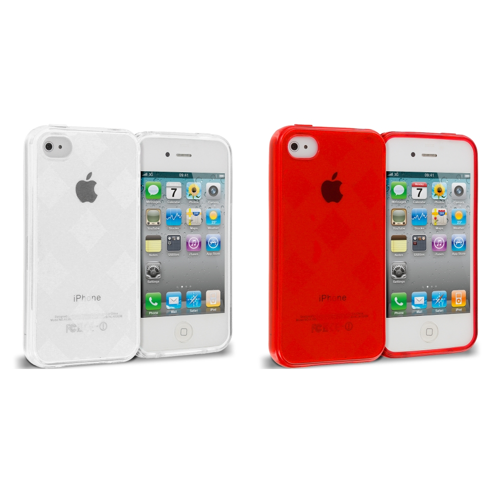 Apple iPhone 4 / 4S 2 in 1 Combo Bundle Pack - Red White Diamond TPU Rubber Skin Case Cover