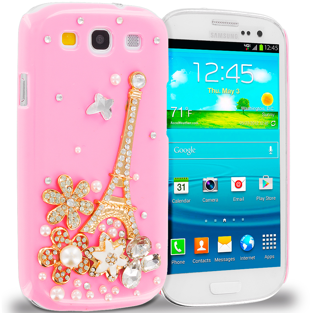 Samsung Galaxy S3 Pink Eiffel Tower Crystal Hard Back Cover Case