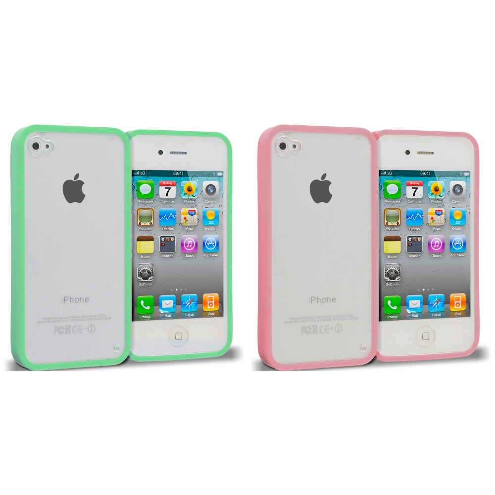 Apple iPhone 4 / 4S 2 in 1 Combo Bundle Pack - Mint Green Pink TPU Plastic Hybrid Case Cover