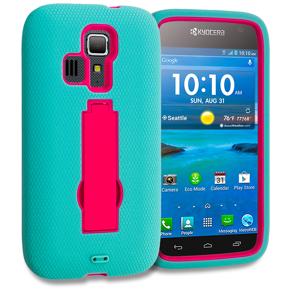 Kyocera Hydro Icon / Hydro Life Teal / Hot Pink Hybrid Heavy Duty Hard Soft Case Cover with Kickstand