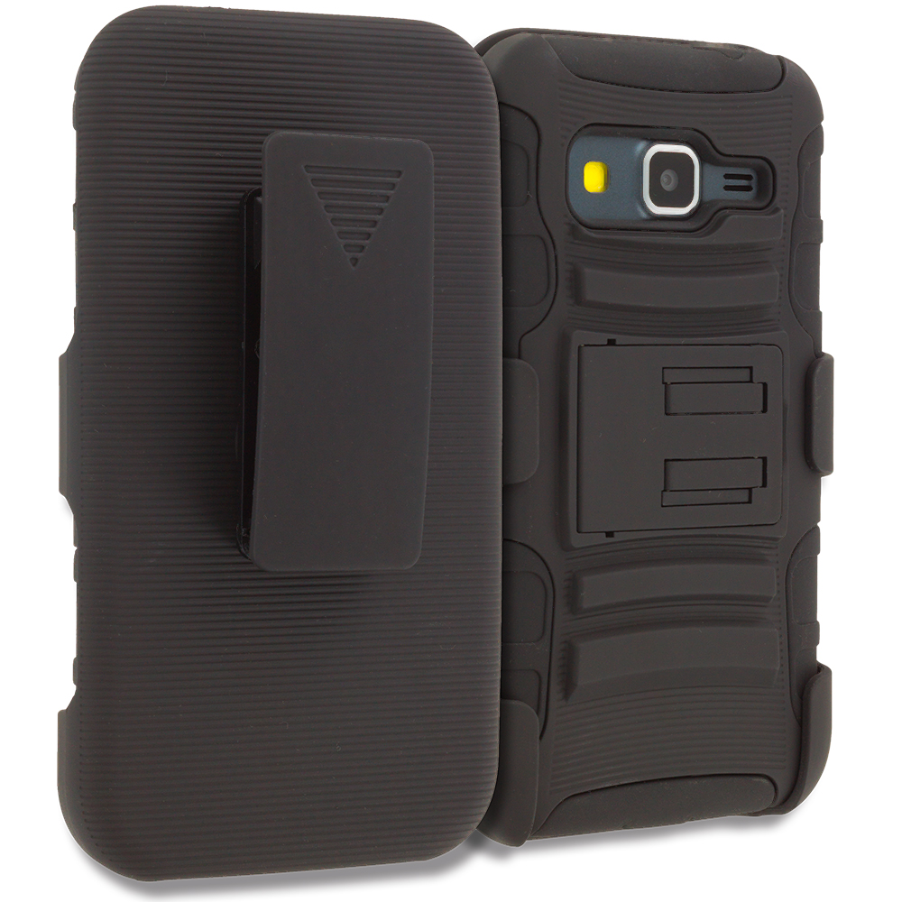 Samsung Galaxy Prevail LTE Core Prime G360P Black Hybrid Heavy Duty Rugged Case Cover with Belt Clip Holster