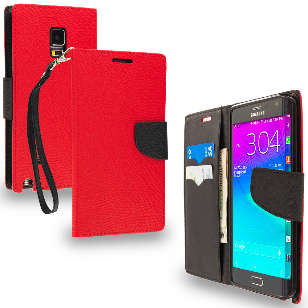 Samsung Galaxy Note Edge Red / Black Leather Flip Wallet Pouch TPU Case Cover with ID Card Slots