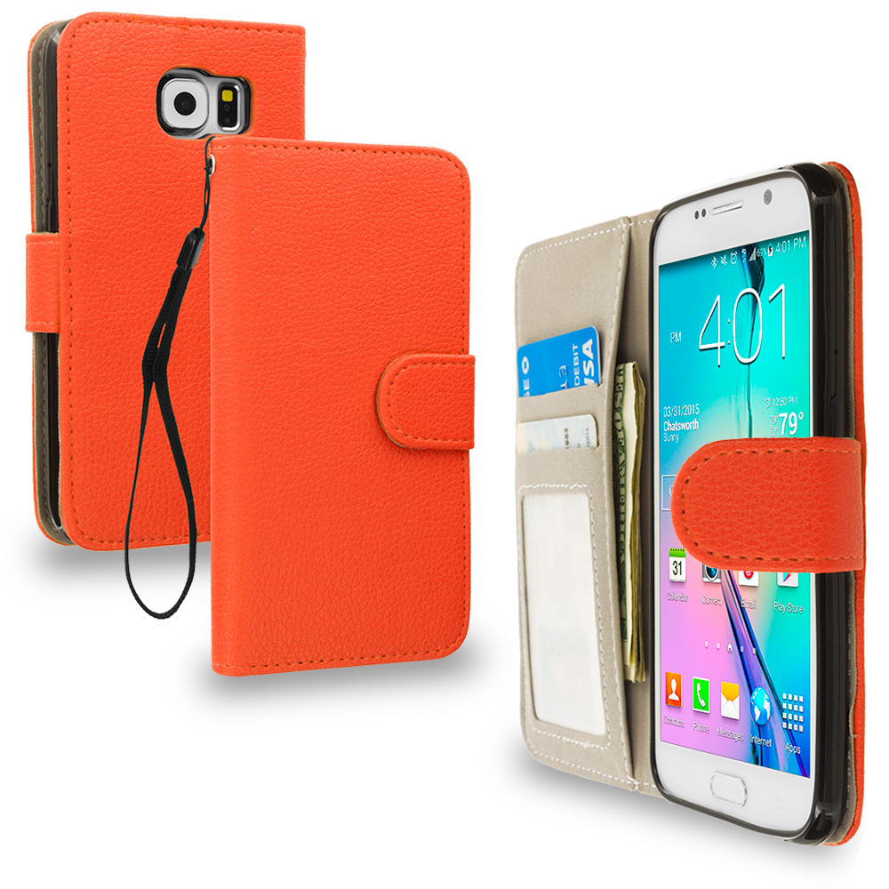 Samsung Galaxy S6 Orange Leather Wallet Pouch Case Cover with Slots