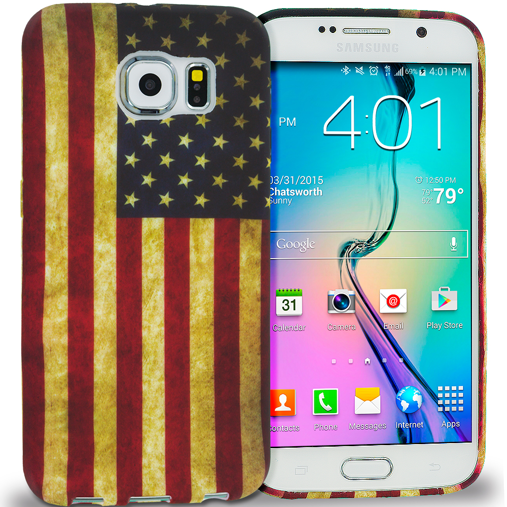 Samsung Galaxy S6 Combo Pack : The Union Flag TPU Design Soft Rubber Case Cover : Color USA Flag