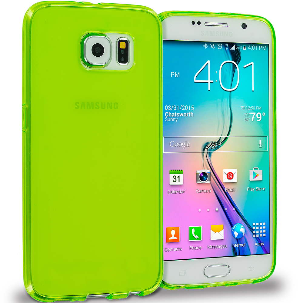 Samsung Galaxy S6 11 in 1 Combo Bundle Pack - Baby Blue Plain TPU Rubber Skin Case Cover : Color Neon Green Plain