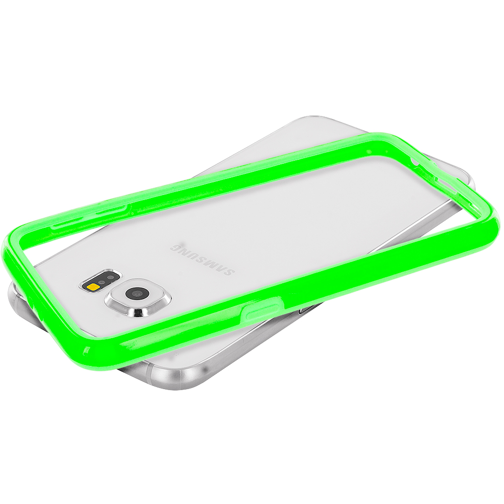 Samsung Galaxy S6 Combo Pack : Yellow TPU Bumper Frame Case Cover : Color Neon Green