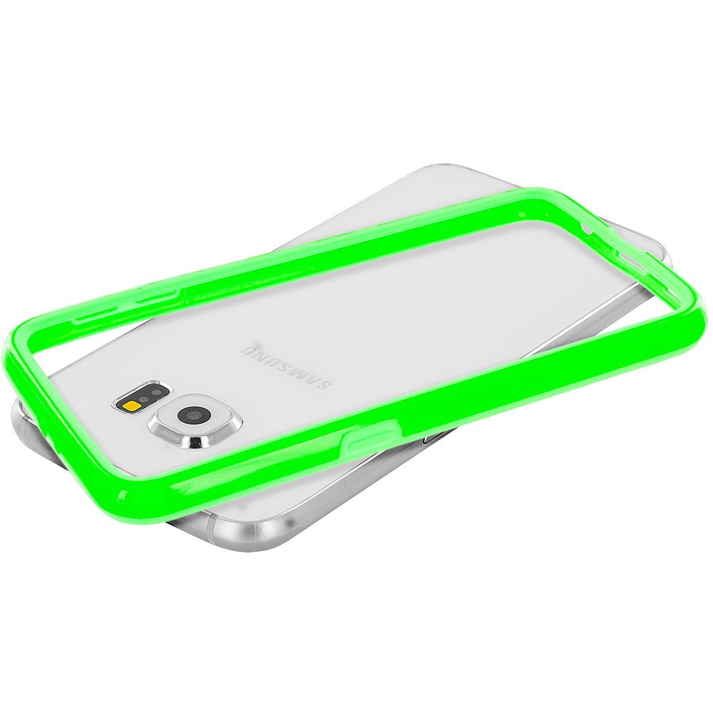Samsung Galaxy S6 Neon Green TPU Bumper Frame Case Cover