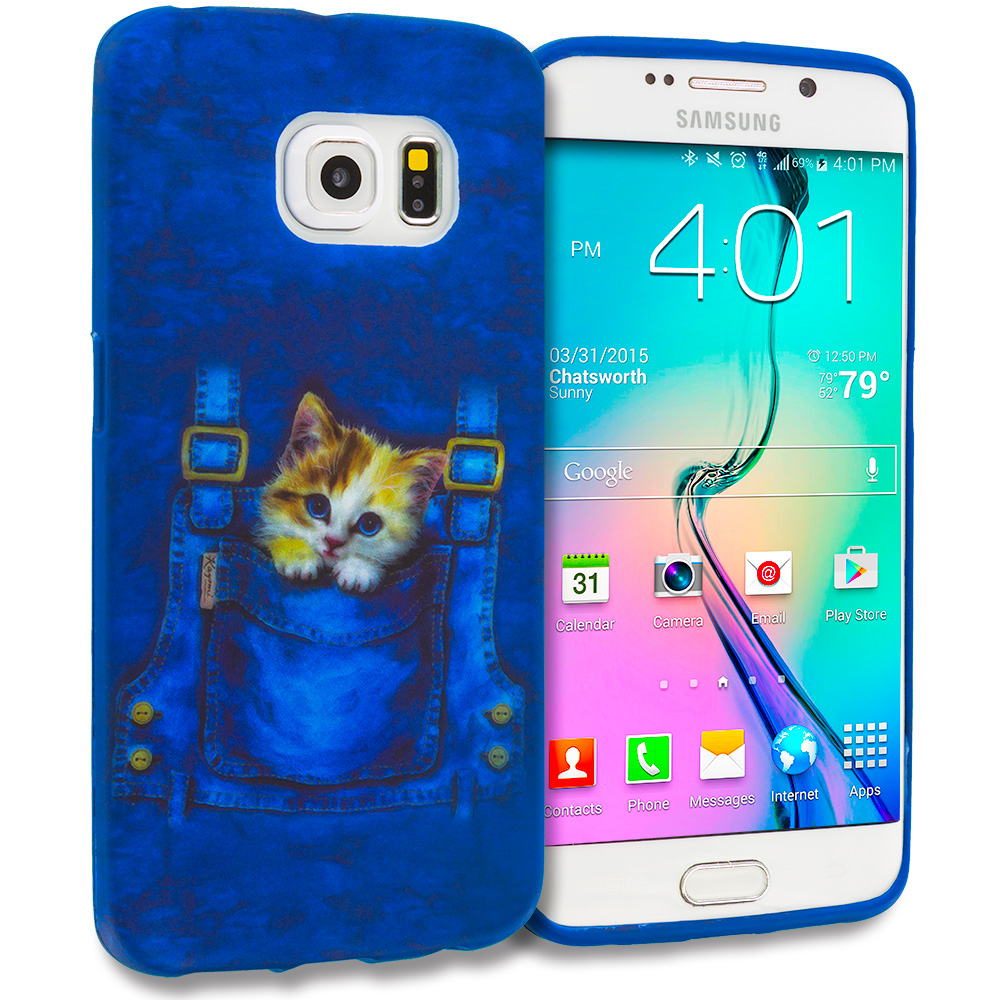 Samsung Galaxy S6 Edge Kitty Cat Jeans TPU Design Soft Rubber Case Cover