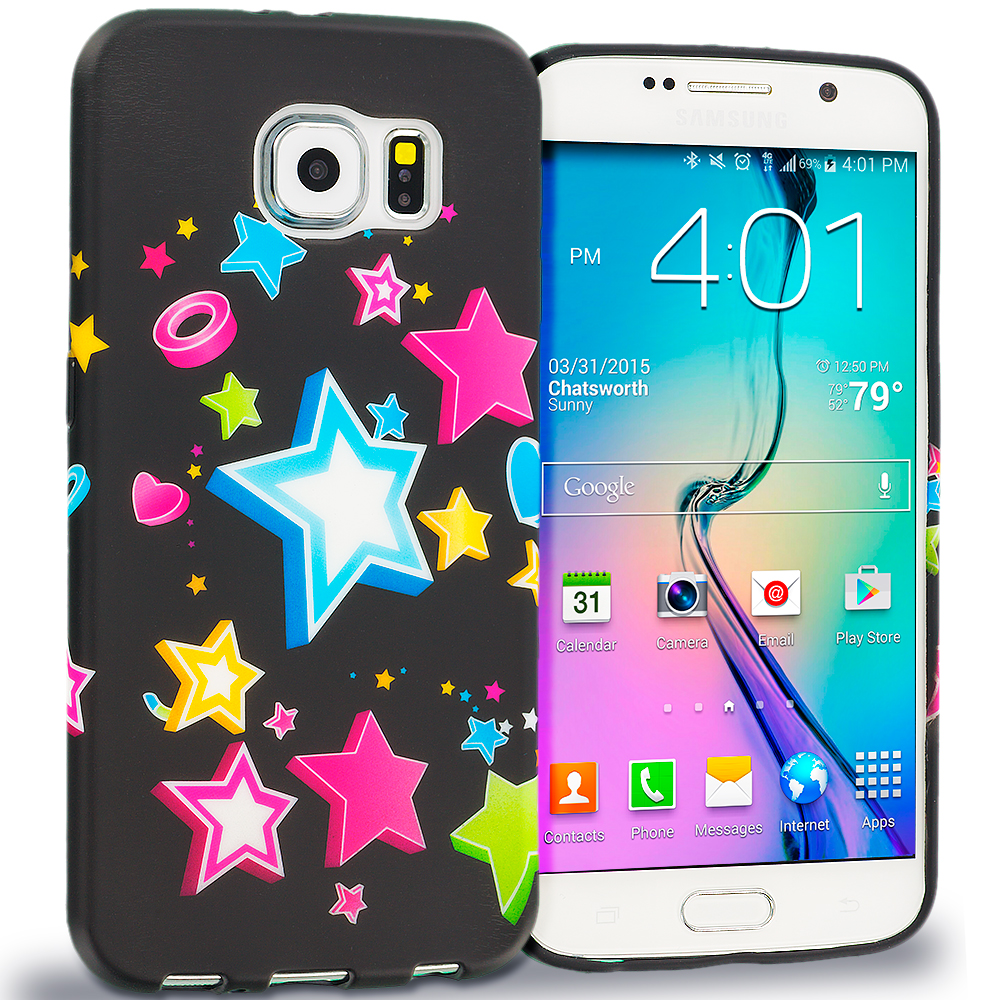 Samsung Galaxy S6 Edge Colorful Shooting Star TPU Design Soft Rubber Case Cover