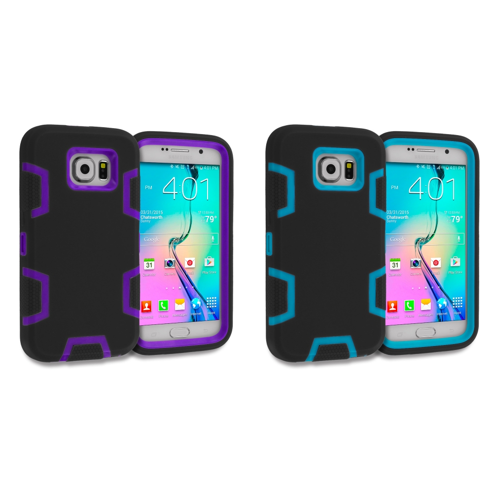 Samsung Galaxy S6 Combo Pack : Black / Purple Hybrid Defender Heavy Duty Shockproof Armor Hard Soft Case Cover