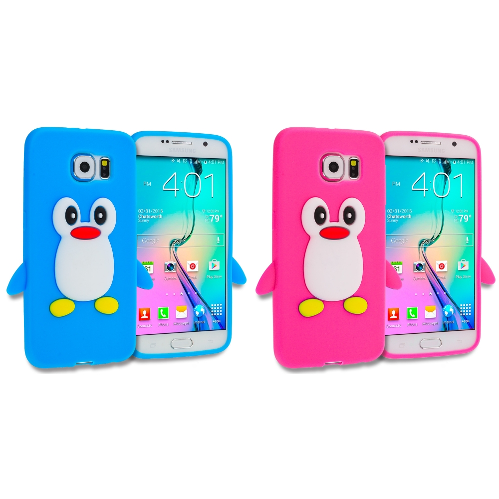 Samsung Galaxy S6 Combo Pack : Baby Blue Penguin Silicone Design Soft Skin Case Cover