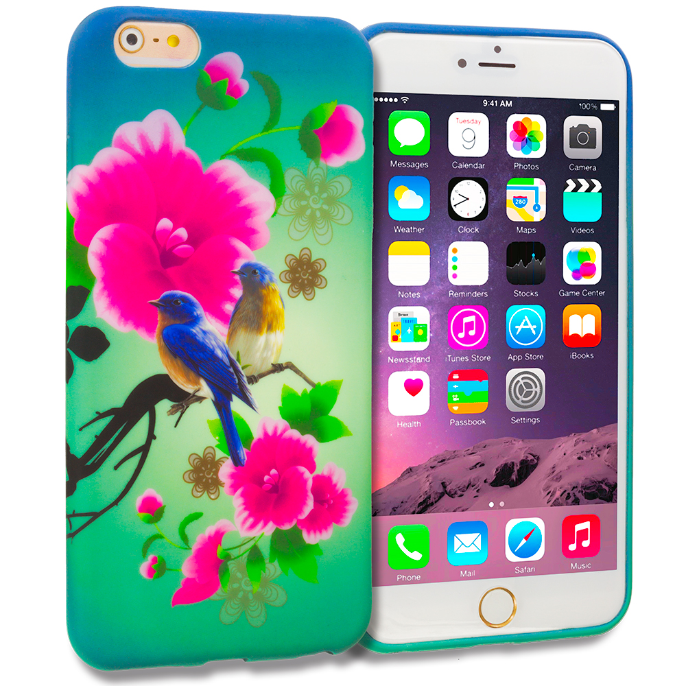 Apple iPhone 6 Plus 6S Plus (5.5) Blue Bird Pink Flower TPU Design Soft Rubber Case Cover
