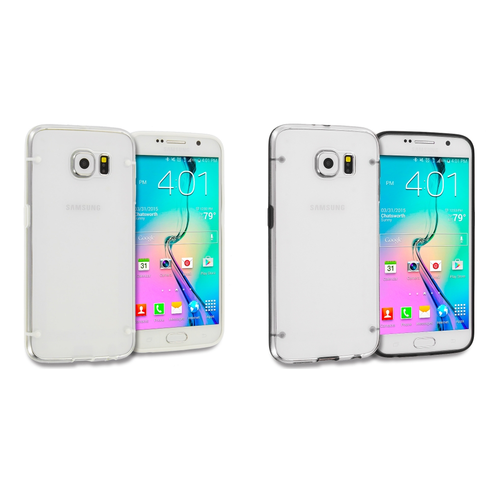 Samsung Galaxy S6 Edge 2 in 1 Combo Bundle Pack - Crystal Robot Hard TPU Case Cover
