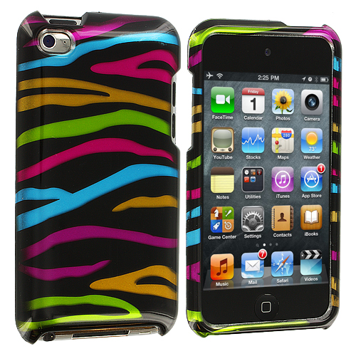 Apple iPod Touch 4th Generation Rainbow Zebra on Black Design Crystal Hard Case Cover