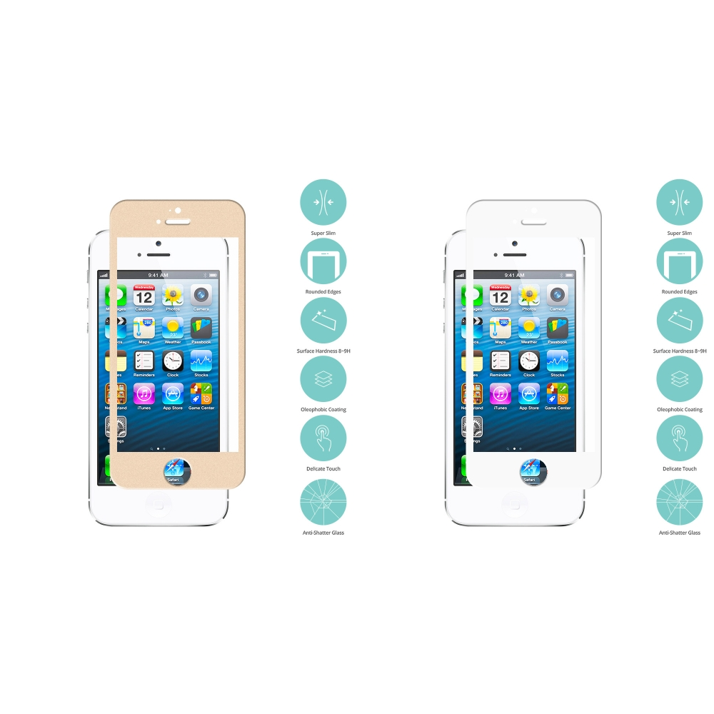 Apple iPhone 5/5C 2 in 1 Combo Bundle Pack - Gold White Tempered Glass Film Screen Protector Colored