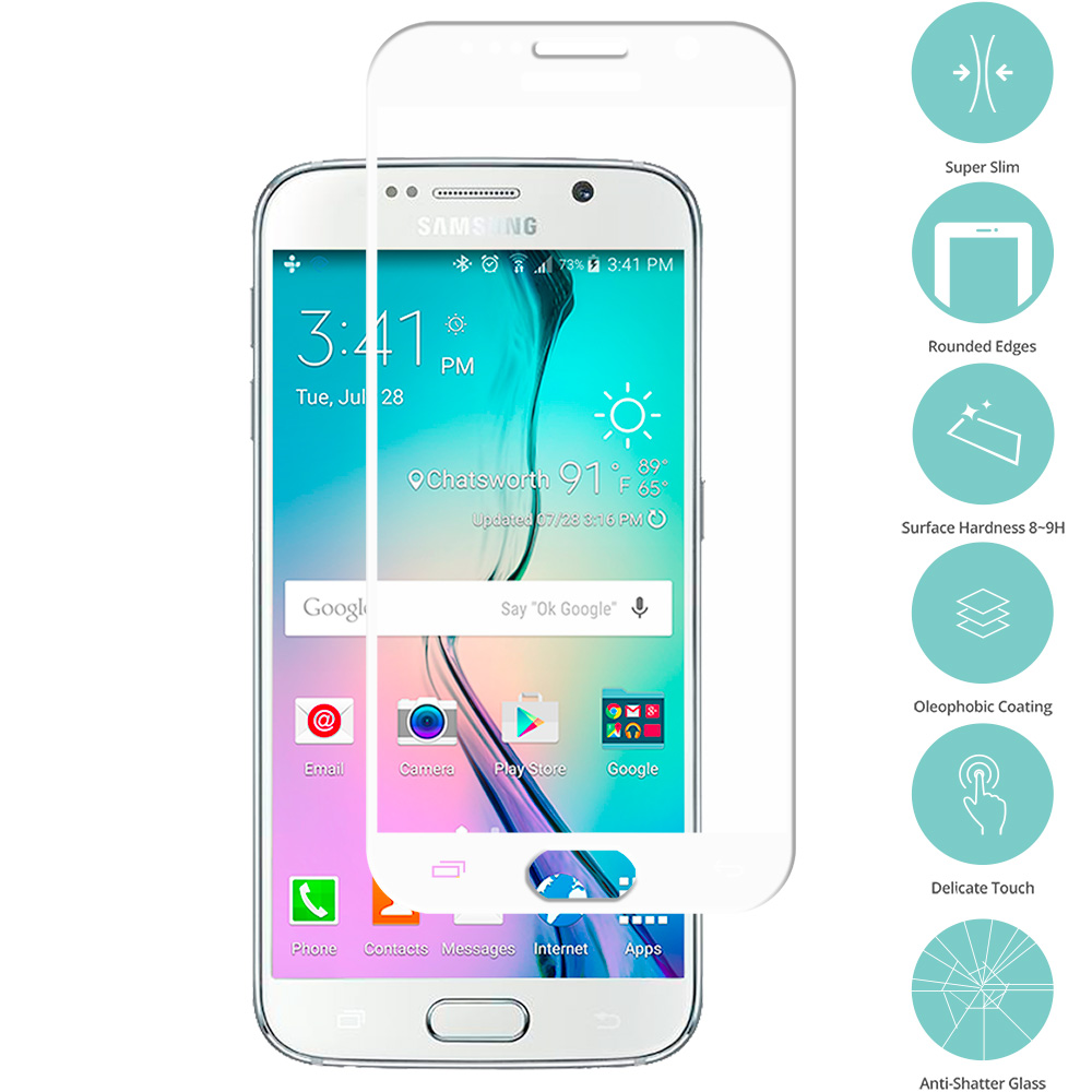 Samsung Galaxy S6 White Tempered Glass Film Screen Protector Colored