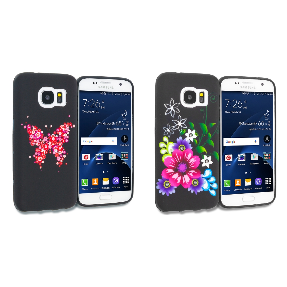 Samsung Galaxy S7 Combo Pack : Butterfly Hearts TPU Design Soft Rubber Case Cover