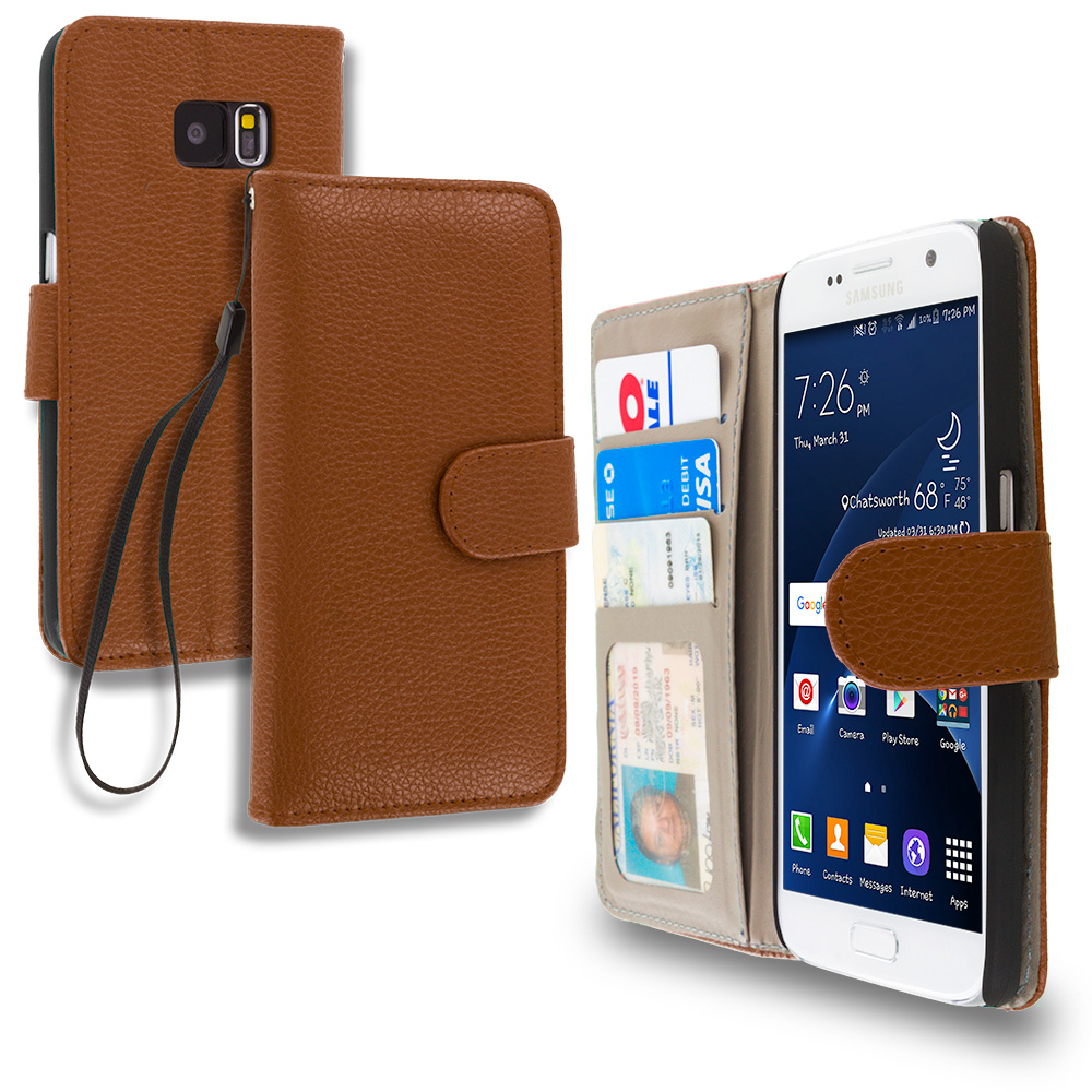 Samsung Galaxy S7 Brown Leather Wallet Pouch Case Cover with Slots