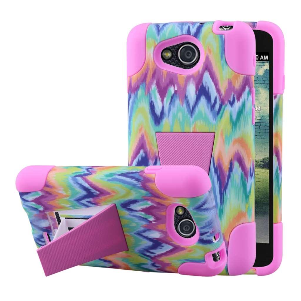 LG Optimus L90 - Pink Tie Dye Chevron MPERO IMPACT X - Kickstand Case Cover