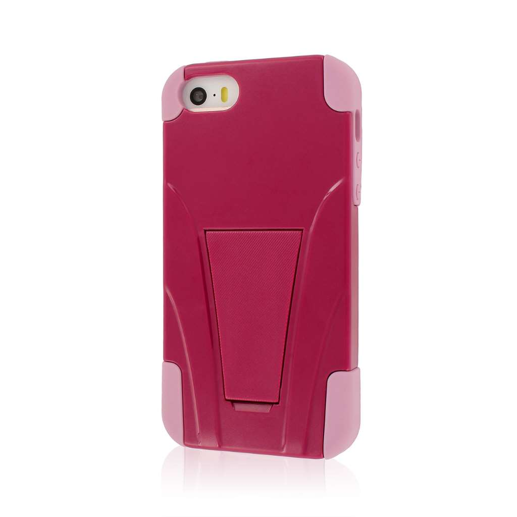 Apple iPhone 5/5S/SE - Pink Combo Pack : MPERO IMPACT X - Kickstand Case Cover : Color Hot Pink / Pink