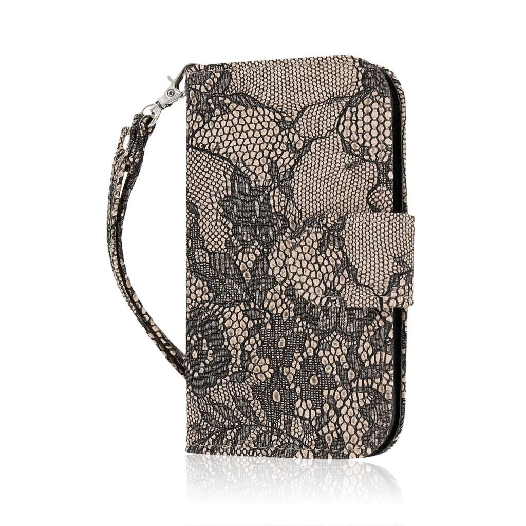 HTC One SV - Black Lace MPERO FLEX FLIP Wallet Case Cover