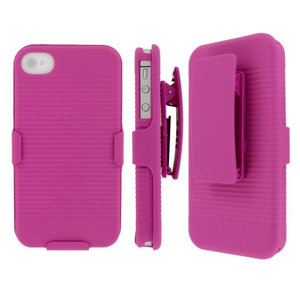 Apple iPhone 4/ 4S - Hot Pink MPERO 3 in 1 Tough Kickstand Case Cover