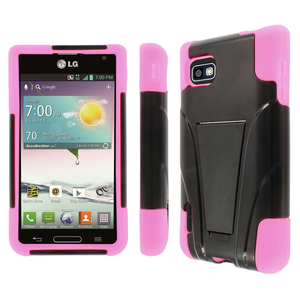 T-Mobile LG Optimus F3- BLACK / HOT PINK MPERO IMPACT X - Kickstand Case