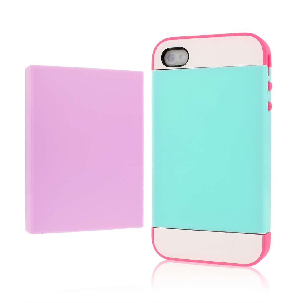 Apple iPhone 4 / 4S - Hot Pink / Mint MPERO Fusion Fit - Protective Case