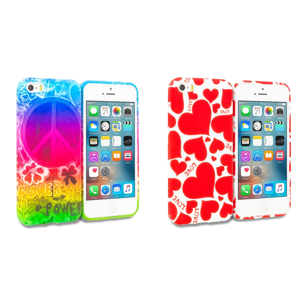 Apple iPhone 5/5S/SE Combo Pack : Flower Power TPU Design Soft Rubber Case Cover