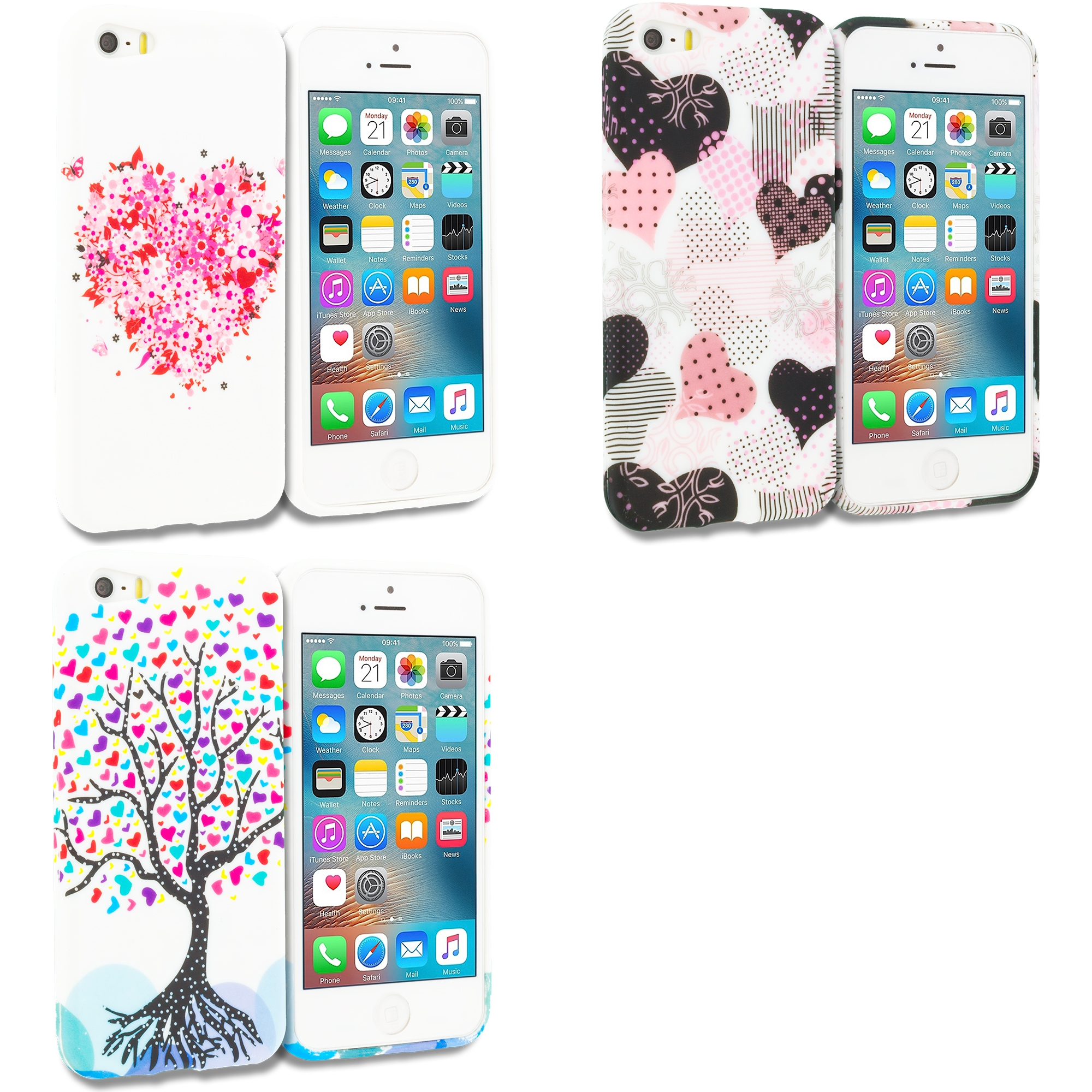 Apple iPhone 5/5S/SE Combo Pack : Hearts Full of Flowers on White TPU Design Soft Rubber Case Cover