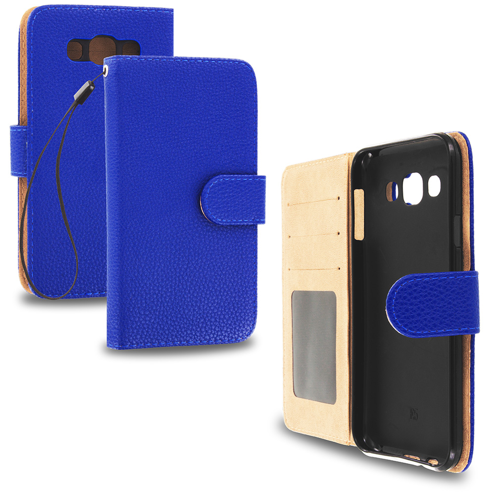 Samsung Galaxy E5 S978L Blue Leather Wallet Pouch Case Cover with Slots