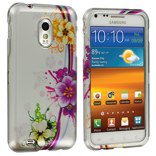 Samsung Epic Touch 4G D710 Sprint Galaxy S2 Purple Flower Chain Design Crystal Hard Case Cover