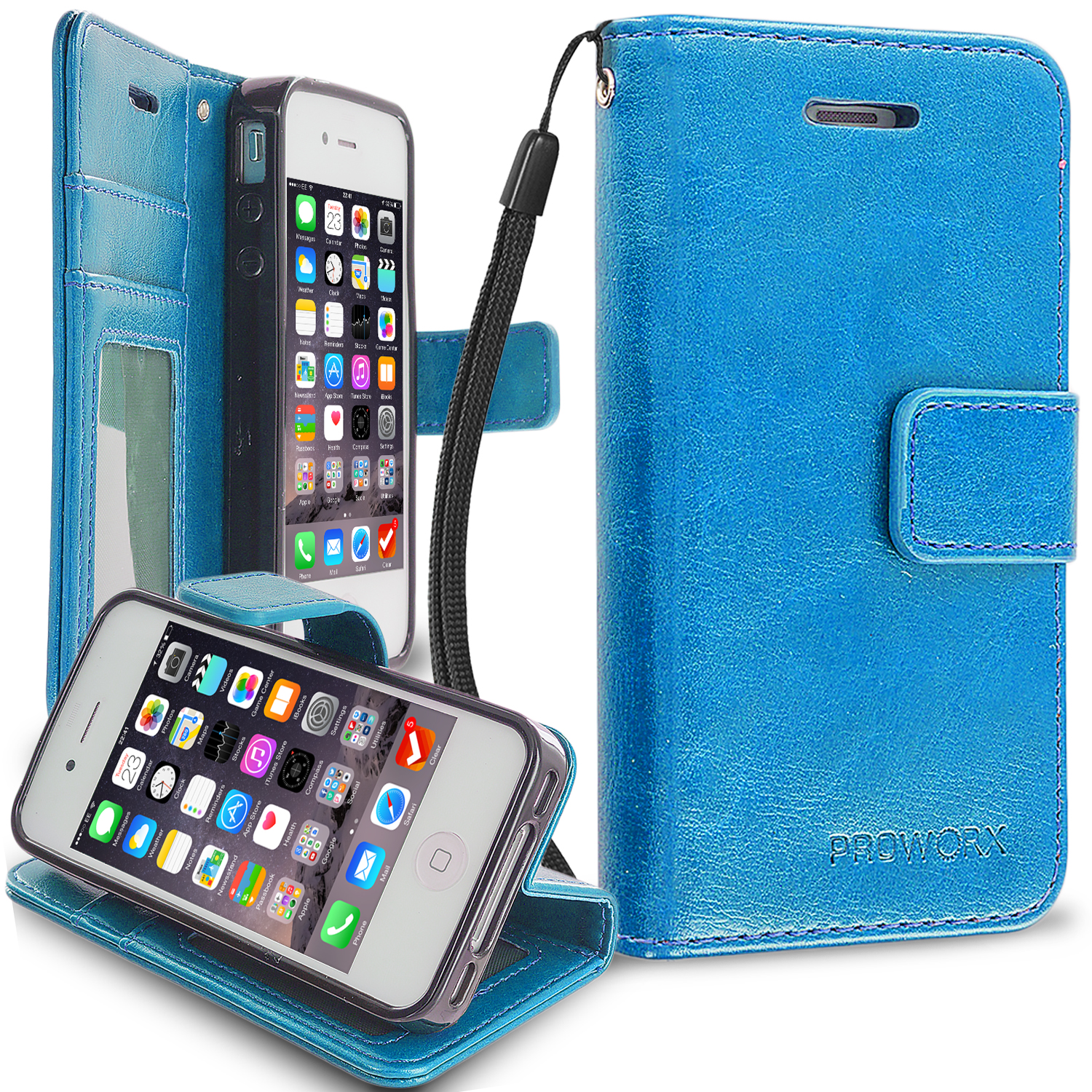 Apple iPhone 4 / 4S Baby Blue ProWorx Wallet Case Luxury PU Leather Case Cover With Card Slots & Stand